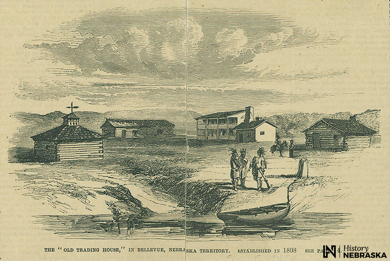 Engraving of settlement, five buidlings, mostly log cabins; Native Americans in foreground