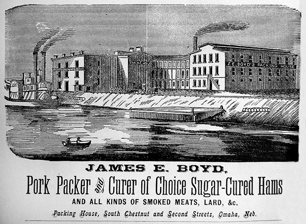 Engraving of a packinghouse. Caption: James E. Boyd, Pork Packer and Curer of Choice Sugar-Cured Hams.