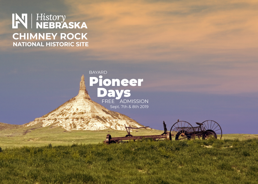 Landscape image of Chimney Rock with event details