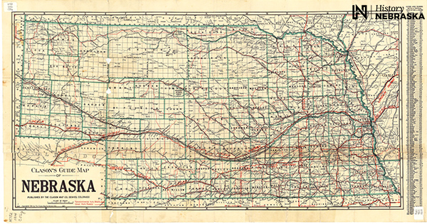 1914 map of Nebraska with highways in red