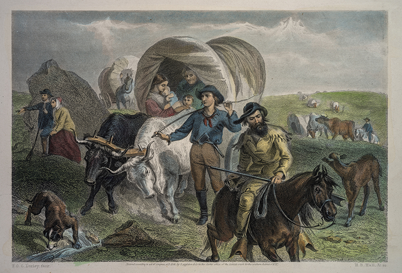 painting showing family and covered wagon
