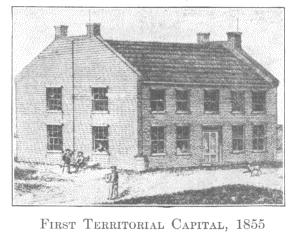 The First Territorial Capitol was a two-story brick structure built in Omaha in 1854 by the Council Bluffs and Nebraska Ferry Company. NSHS RG1234-2-10