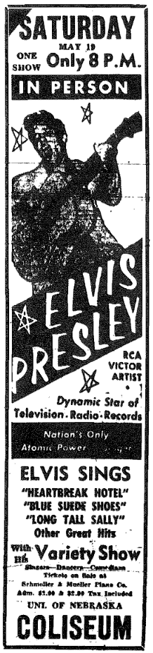 "Ad for ""Elvis Presley, RCA Victor Artist, dynamic star of televsion, radio, records."""