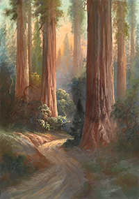 Painting of redwood forest