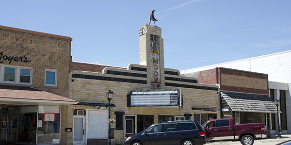 front of movie theater building