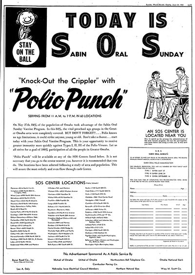 "Newspaper ad: Today is Sabin Oral Sunday. ""Knock-Out the Crippler"" with ""Polio Punch"""