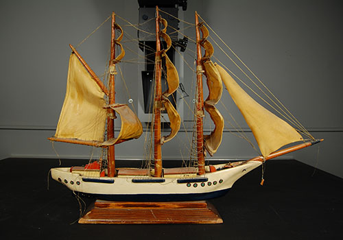 Model of a sailing ship from the Nebraska History Museum collection