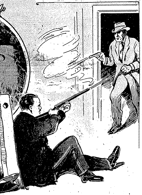 Illustration: shootout between seated man with shotgun and standing man with pistol