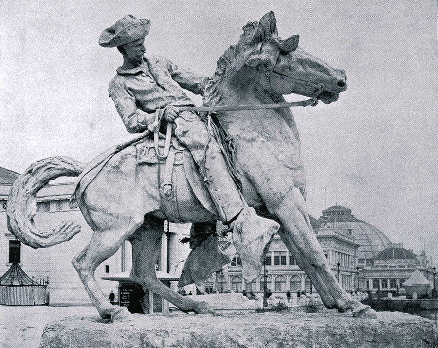"Proctor's ""Cowboy"" at the World's Columbian Exposition, Chicago, 1893. Photographic illustration from ""The Dream City, A Portfolio of Photographic Views of the World's Columbian Exposition with an introduction by Halsey C. Ives"" (St. Louis: N.D. Thompson Co., 1893 – 94)."