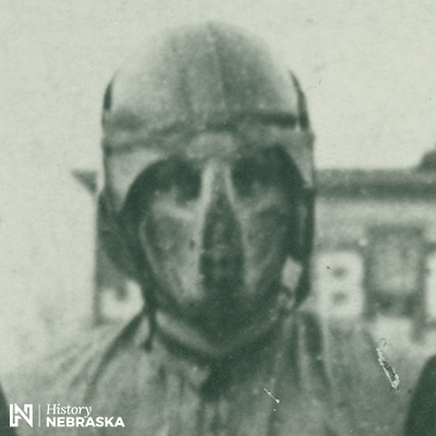 Closeup of player in helmet and nose guard