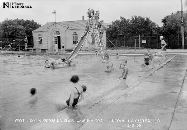 Lincoln Municipal Pool, 1935. Showing people swimming