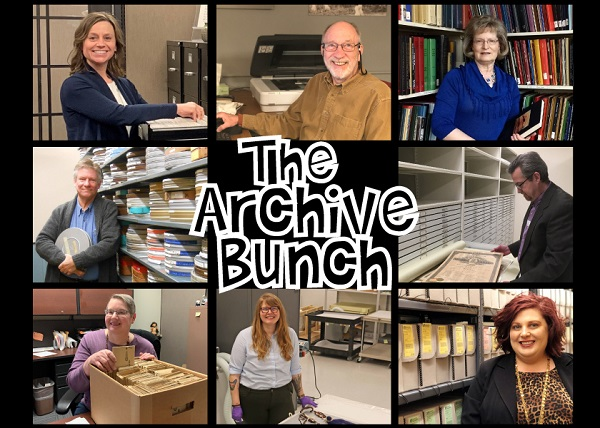"""Composite image of Collections Staff with """"The Archive Bunch"""" in the middle"""