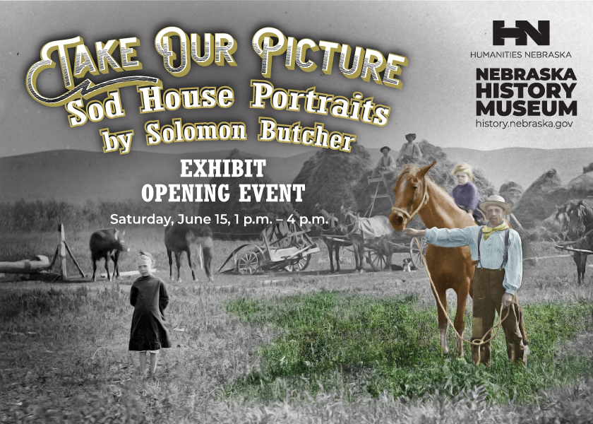 Exhibit Opening graphic featuring old photographs