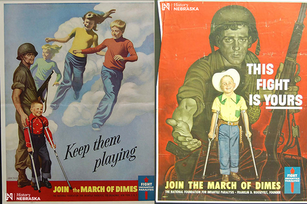 """Keep them playing"" and ""This fight is yours"" March of Dimes posters"