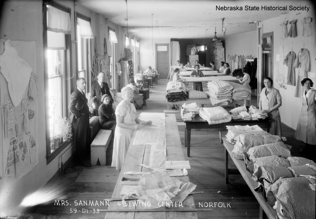 Workers at the sewing center in Norfolk, Nebraska