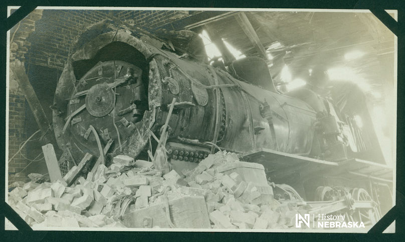 Missouri Pacific engine 2364 crashed into Northwestern Depot in Lincoln, Nebraska, July 21, 1911 (RG0849-1-129)