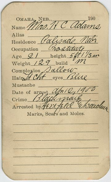 Mrs. H. C. Adams Mugshot Report