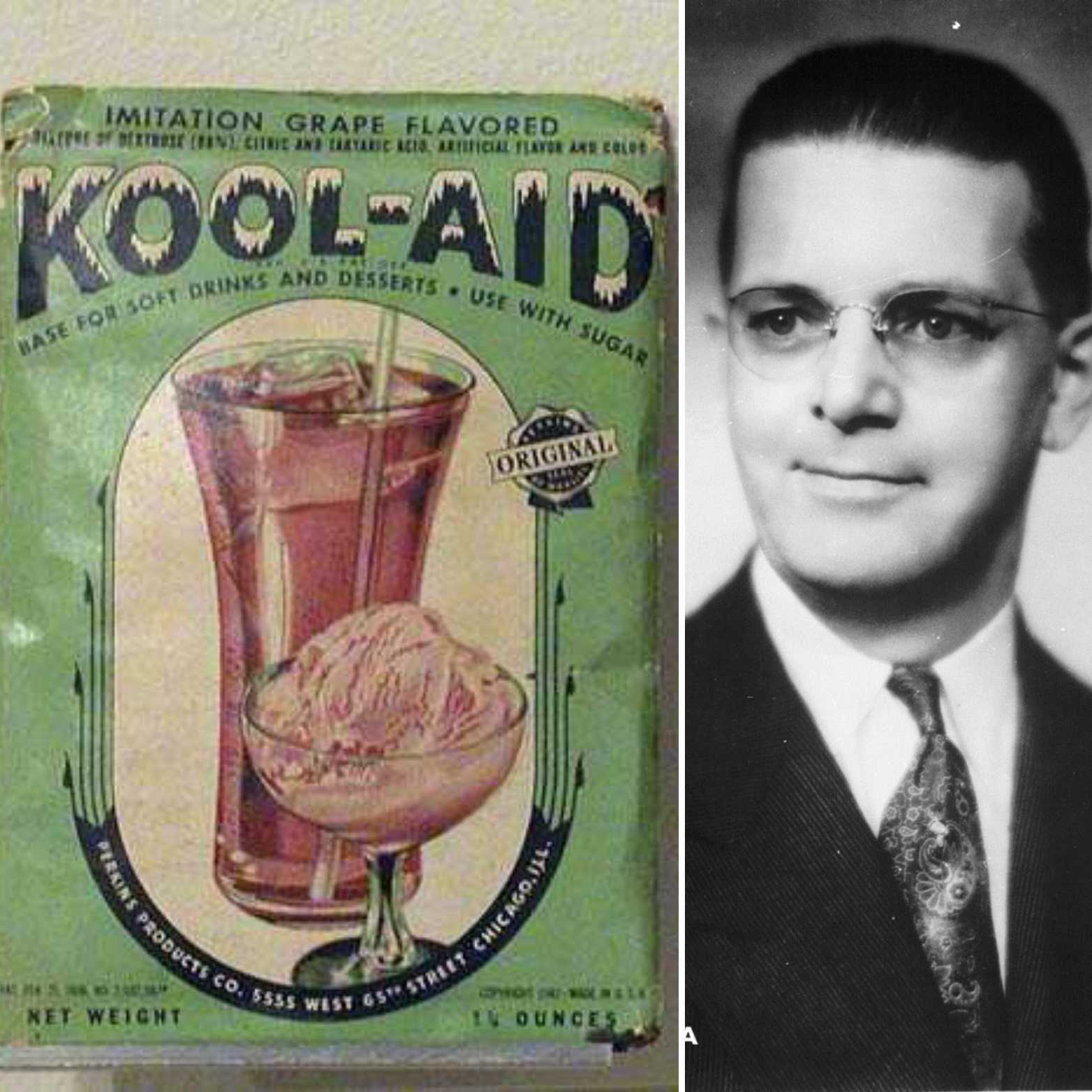 A collage with an old Kool-Aid package on the left and an image of Edwin Perkins on the right