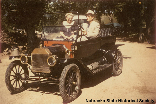 Couple in Model T Ford in 1955