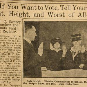 """Newspaper clipping, headline: """"Girls, If You Want to Vote, Tell Your Exact Weight, Height, and Worst of All--Age"""""""