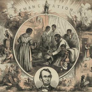 """Poster titled """"Emancipation"""" showing scenes of slavery surroudning a peaceful view of a prosperous black family, with Lincoln's portrait inset at bottom."""