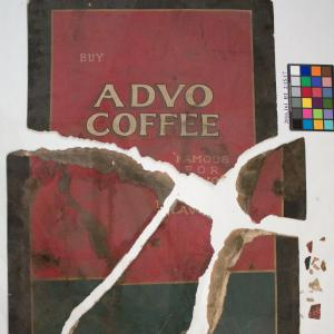 Before treatment photo of Advo Coffee Ad, in pieces, covered in dirt.