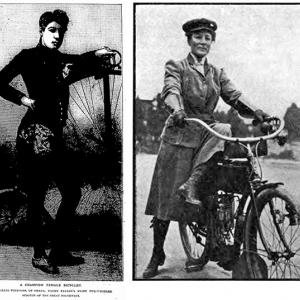 Left: woman standing beside high-wheel bicyle: Right: woman on an early-1900s motorcycle