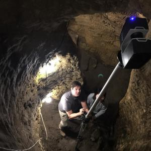 Dr. Richard Wood and Yijun Liao scanning Robber's Cave