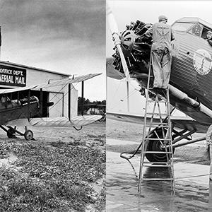 left: open cockpit biplane; right: much larger closed cabin tri-motor biplane