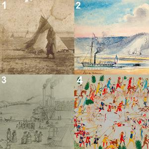 details of four images: Native American man; steamboat; another steamboat; battle illustration