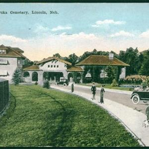 old postcard showing Lincoln's Wyuka Cemetery