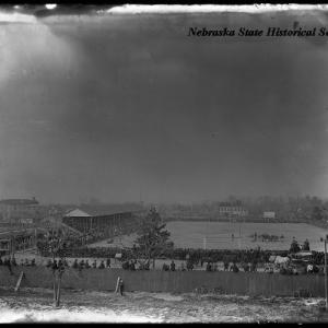 The football game between the Haskell Indian team and the University of Nebraska, Lincoln, NE.