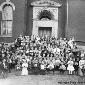 McKinley Students with birdhouse at UNL ca. 1910