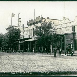 This undated photograph depicts buildings along a street in Valentine. NSHS RG5753.PH1-81