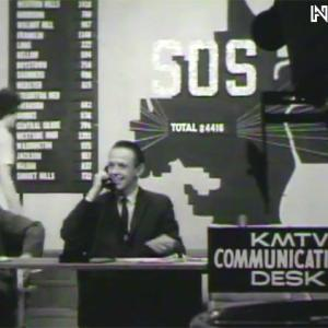 TV still of SOS event in Omaha, showing man in TV studio