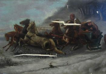 Peter and Pavel painting, before treatment two men in horse-drawn sleigh, followed by wolves