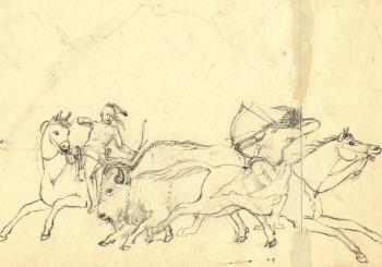 Sketch of Oto hunters on horseback by Titian Peale.
