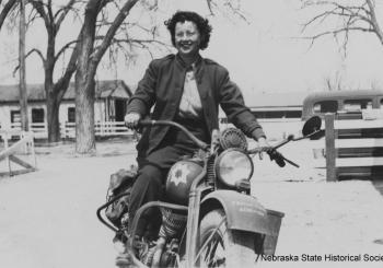 WAC Gladys Welch on motorcycle at Fort Robinson, ca. 1943