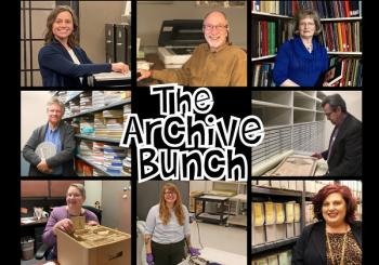 "Composite image of Collections Staff with ""The Archive Bunch"" in the middle"