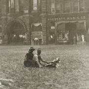 Flooding at 12th and O Streets in Lincoln, 1912 (RG2158-24-7)