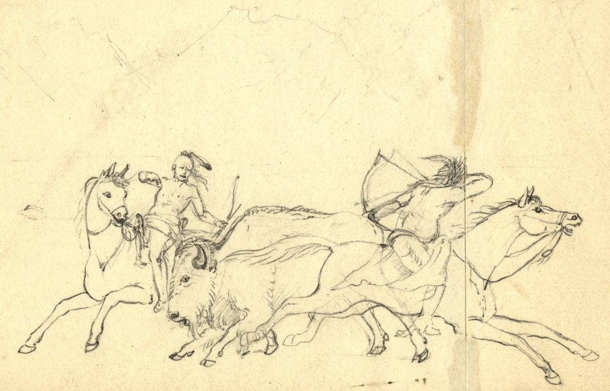 Titian Peale Sketch of Oto hunters on horseback. APS image 2689.