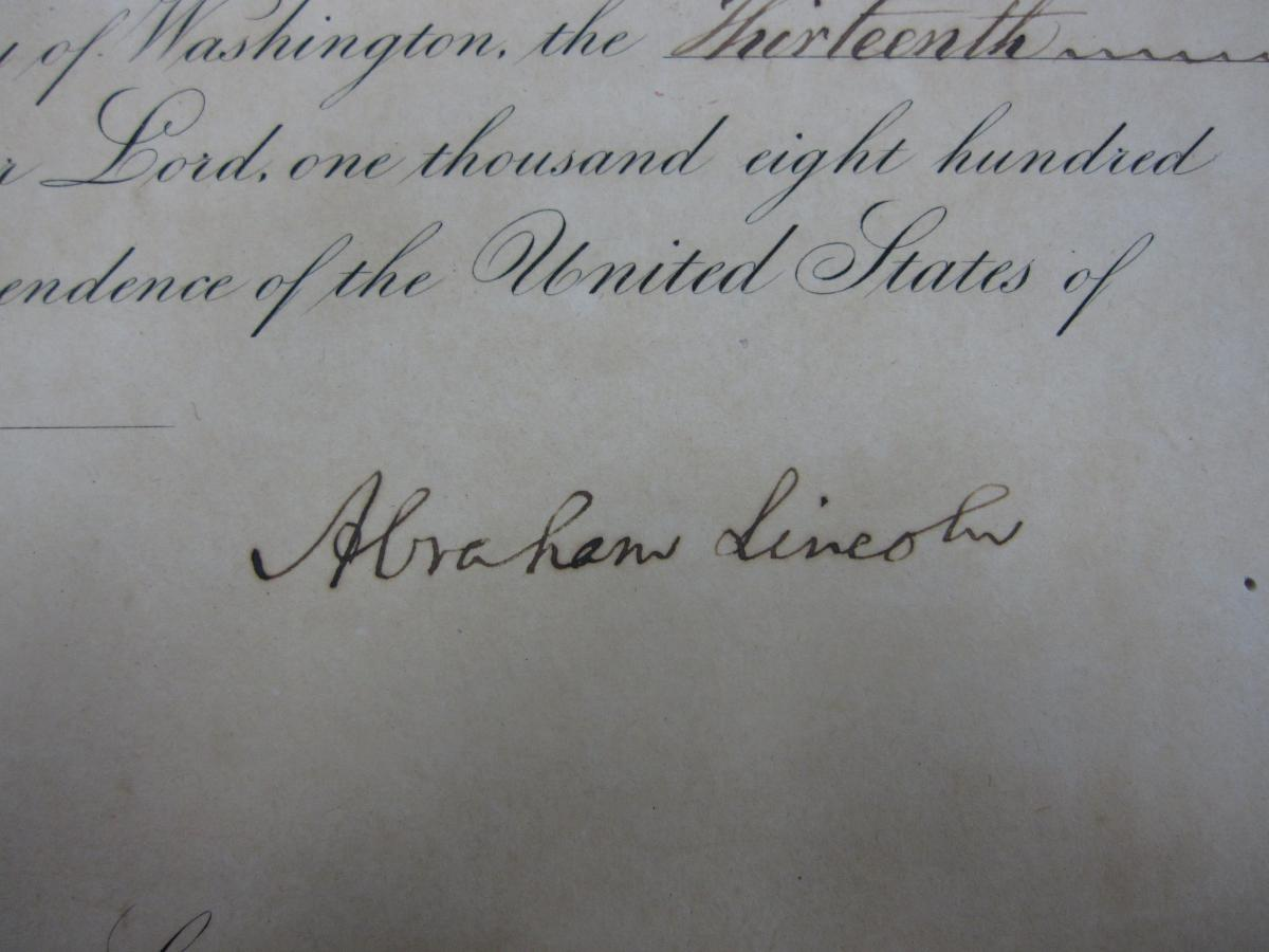 Detail of Abraham Lincoln's signature