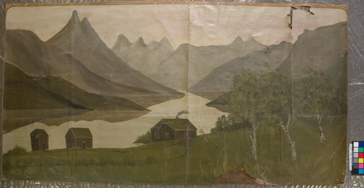 Landscape mural on paper with mountains, river, and farmhouse, before treatment