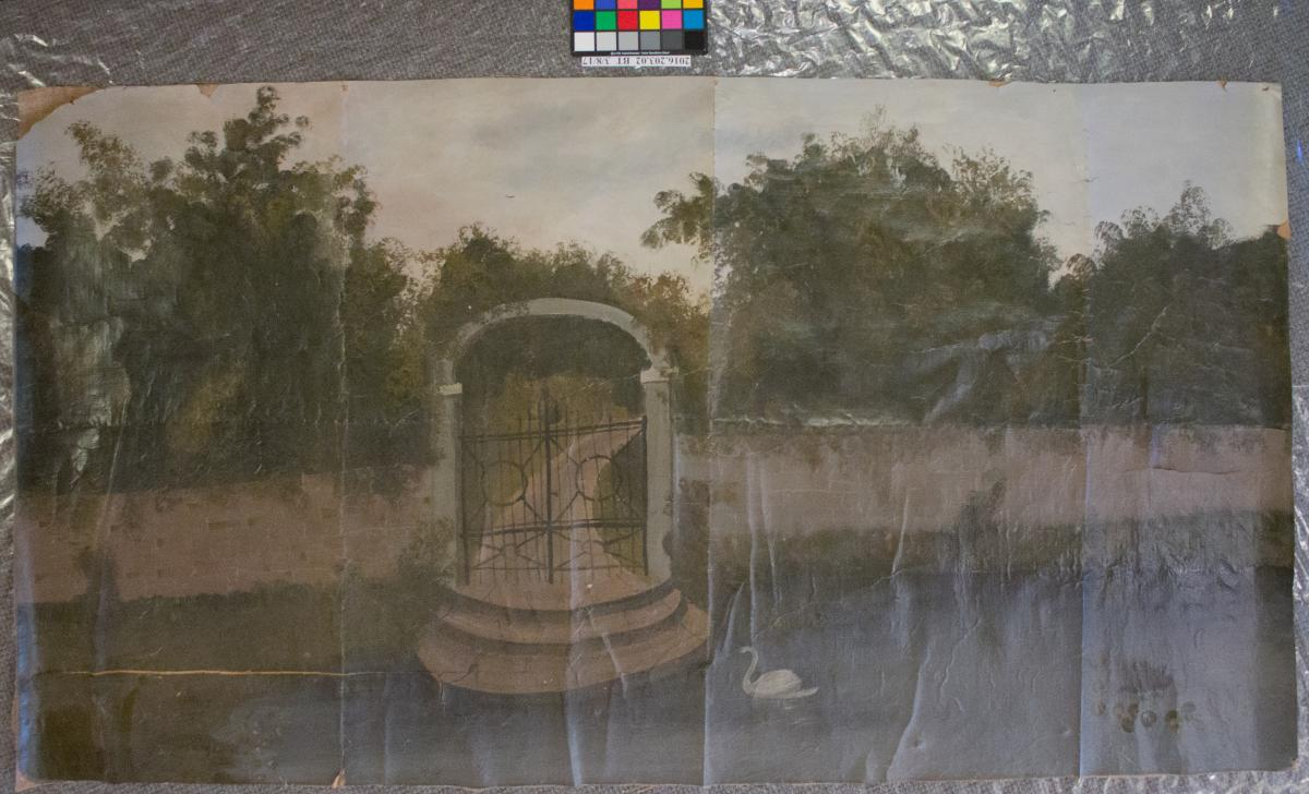 Landscape mural on paper with pond, wall, gate and swan, before treatment