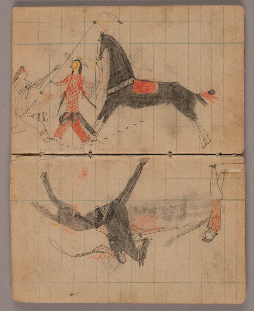 Ledger drawings of Native Americans, horses and soldiers