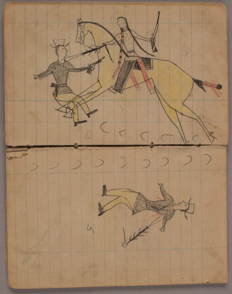 Ledger drawings of a Native American on a yellow horse, and soldiers