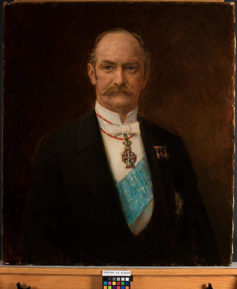 portrait painting of man with mustache, after treatment