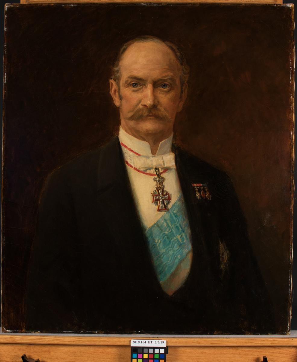 portrait painting of man with mustache, before treatment