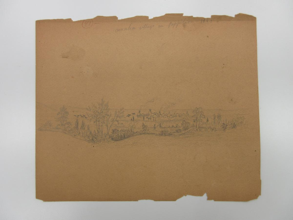"pencil sketch on browned paper of Native American village with teepees along river, ""Omaha village in Pappillion"" handwritten at the top"