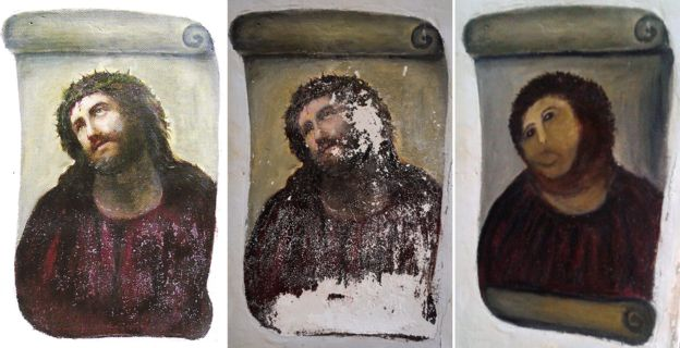 "three images showing the original, deteriorated and ""restored"" version of fresco of Jesus Christ."